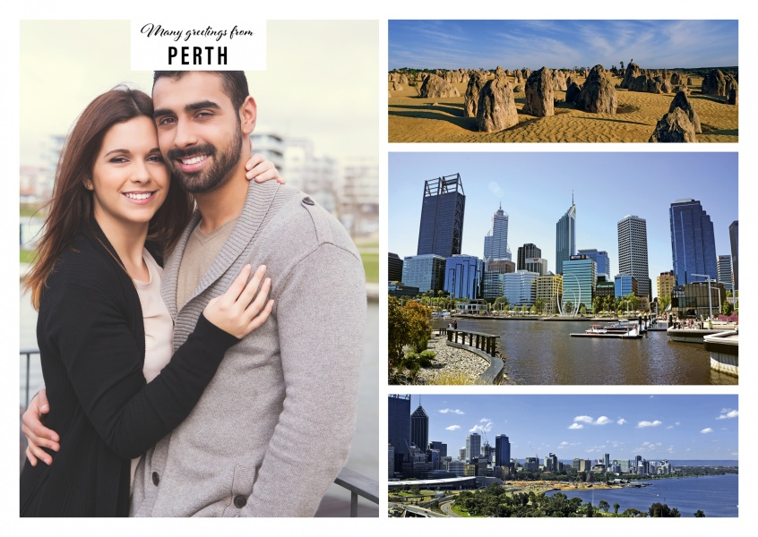 Personalizable greeting card from Perth in Australia with photos of the landscape and skyline