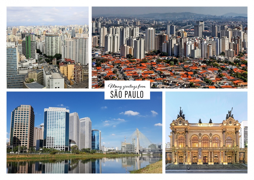 Personalizable greeting card from Sao Paulo in Brazil with photos of the skyline and the city