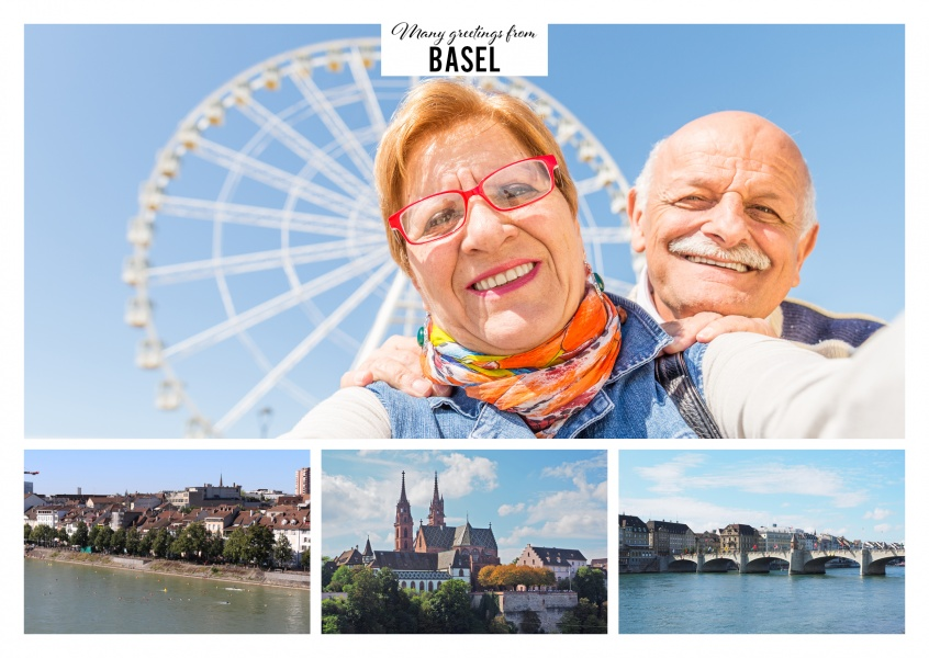 Personalizable greeting card from Basel Switzerland with three pictures