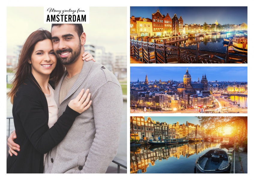 Personalizable greetingcard from Amsterdam showing three pictures of Amsterdam's scenery by night