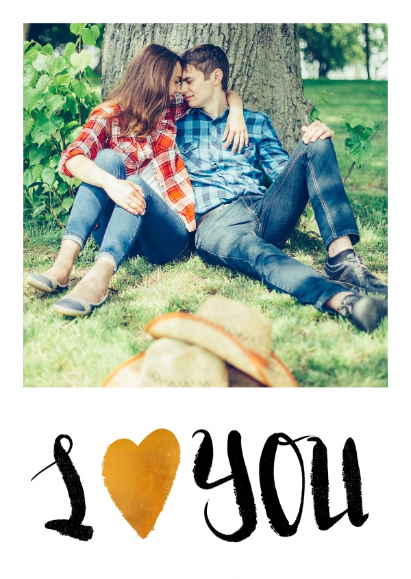 personalizable love postcard with black text and a golden heart