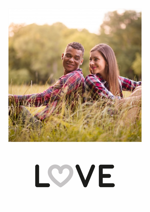 Personalizable love postcard in black and white