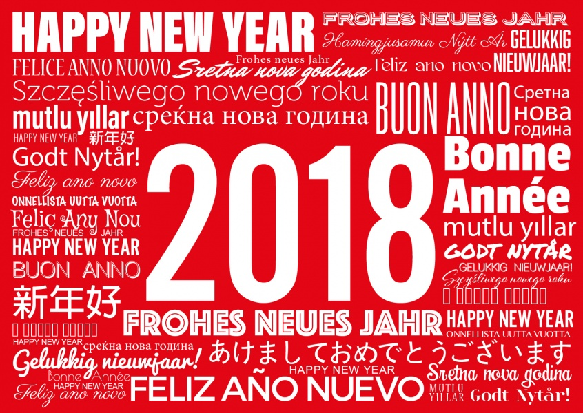 Happy new year card send your new year card online as a postcard new year greetings in white on a red background written in various languages card m4hsunfo