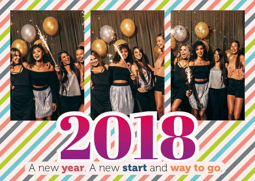 Personalizable new years card for three photos with a striped backround