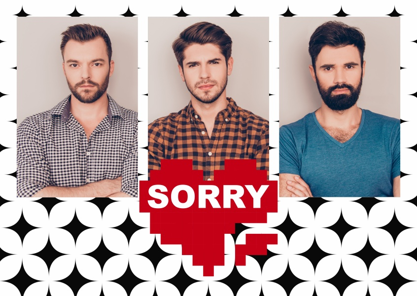 Personalizable sorry postcard with pattern and a heart