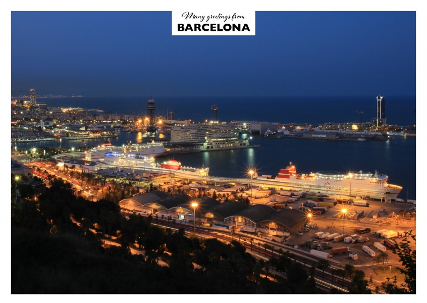Barcelona in the evening showing port