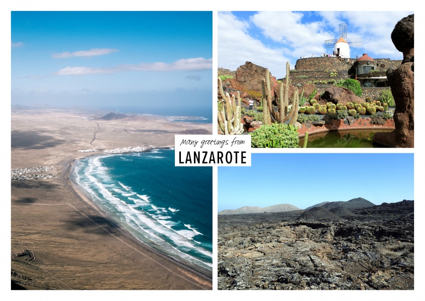 Three photos of the canary island lanzarote