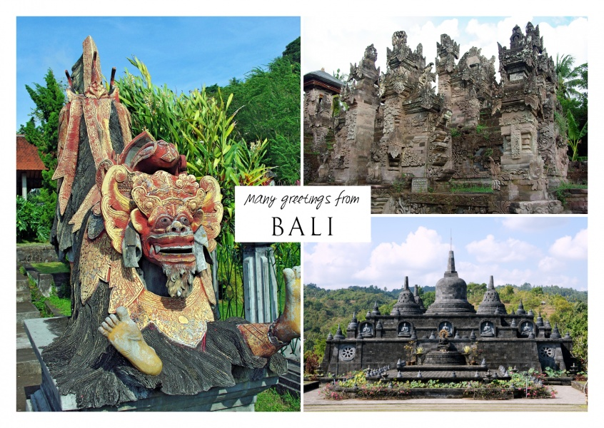 triple fotocollage of bali with beach and traditional sculpture