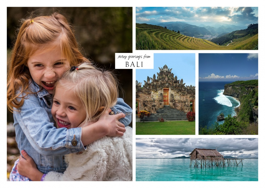 multioic photocollage of Bali showing beach, mountains ansd traditional temple