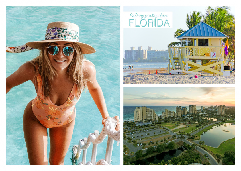 photocollage of florida showing lifeguard beach tower and skyline