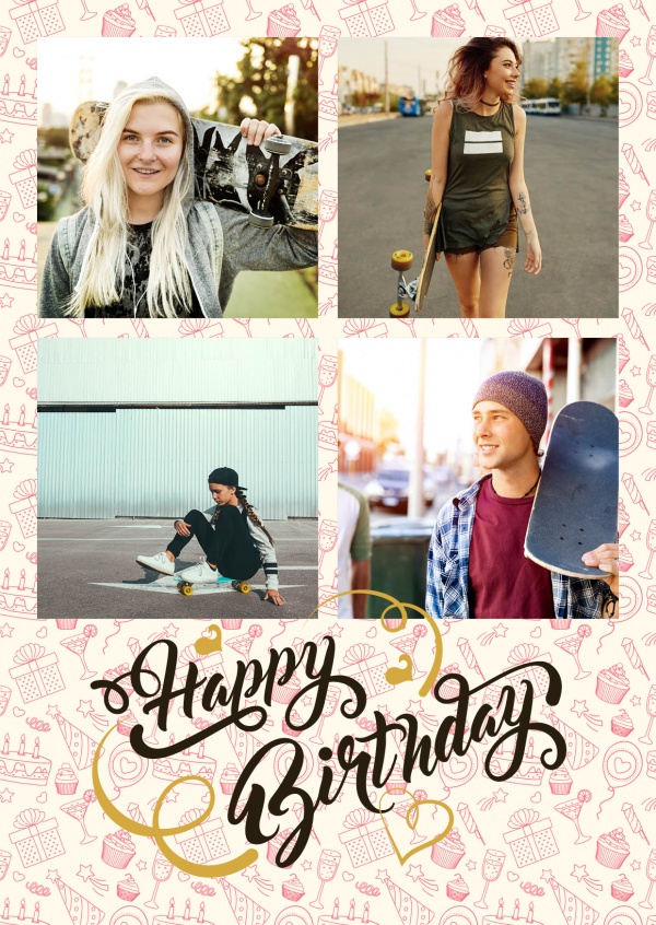 Happy Birthday Item Pattern Background With Trendy Calligraphy Lettering