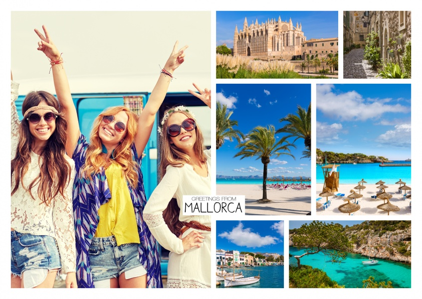 photocollage of Mallorca showing cathedral in palma, bays and beaches