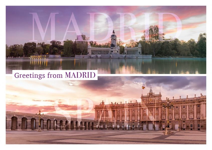 panoramic photo collage of Madrid