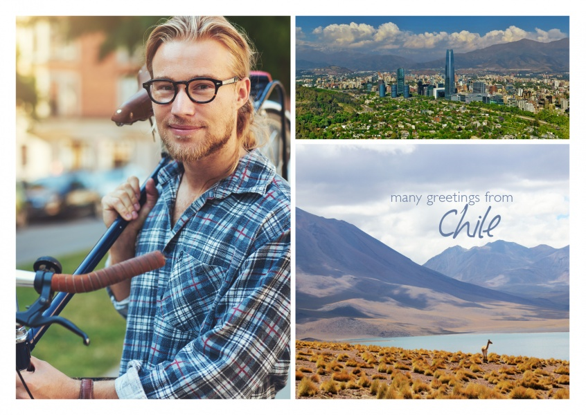 photocollage of chile with view above santoag ode chile