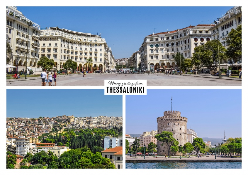 triple photocollage of thessaloniki