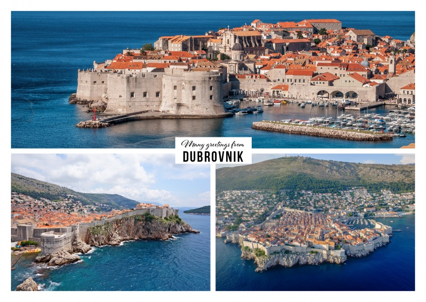 photocollage of dubrovniks old town with panorama picture