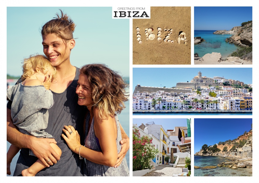 multipicture photocollage of Ibiza including typical house and beach