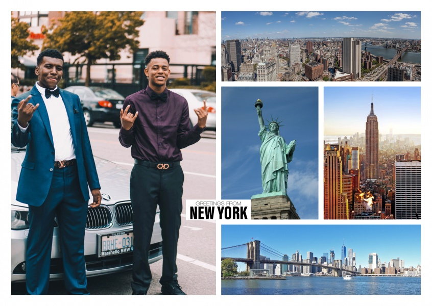 photocollage of new york with various skyline viewa and statue of liberty