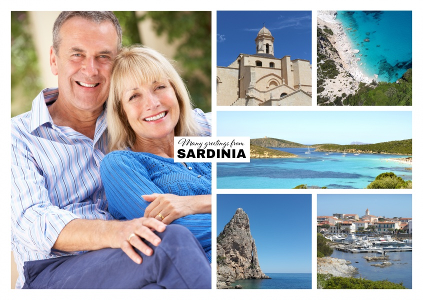 photocollage of sardinia showing beaches, old town and mountains