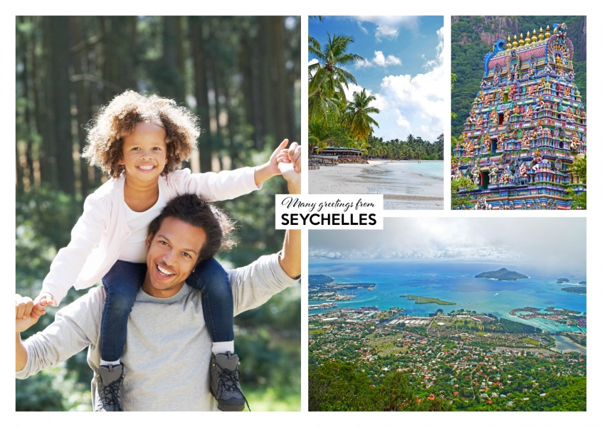 photocollage of seyhelles showing hindu temple and victoria