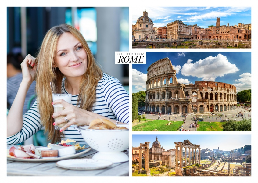 rom photocollage showing colosseum and forum romanum