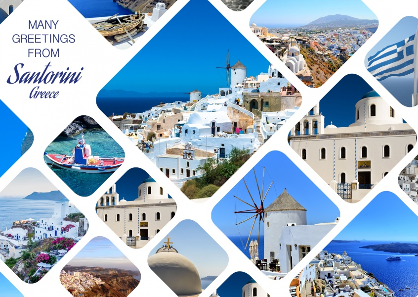 photocollage of Santorini, Greece