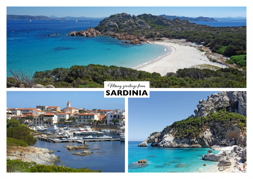 triple photocollage of Sardinia showing beach and rocky landscape