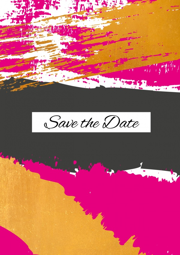 invitation in modern pink and golden style