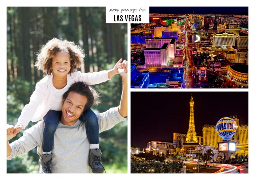 photocollage of las vegas mit view over city and road sign