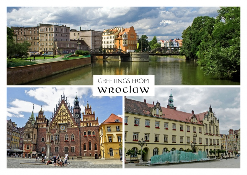 triple photocollage of wroclaw