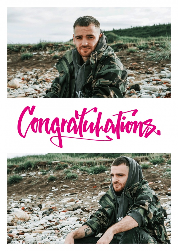 Congratulationcard with fuchsia graffiti writing for two photos