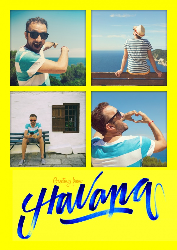 havanna blue handlettering on yellow ground