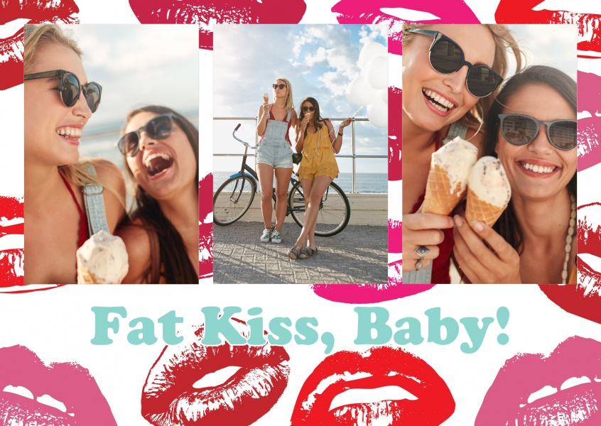 lipstick kiss pattern in red and pink
