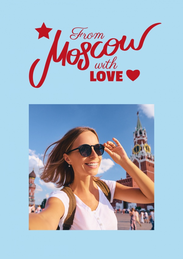from moscow with love red lettering with heart on baby blue