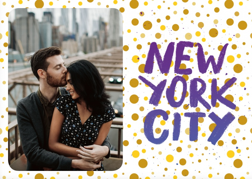 new york blue handwriting with golden polkadotted background