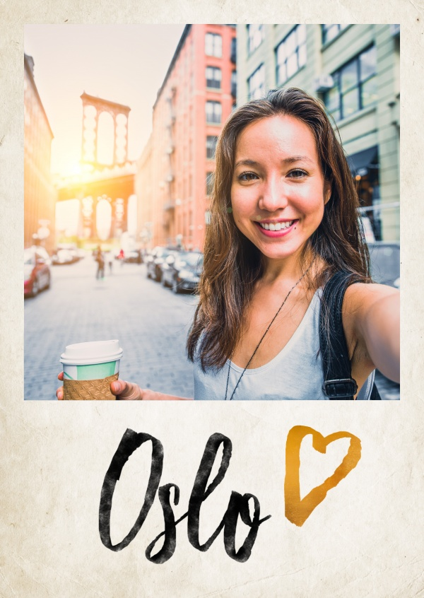 oslo handlettering with golden heart on paper texture background
