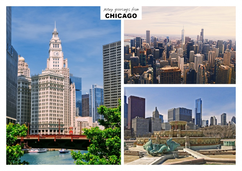 Three photos of chicago in illinois