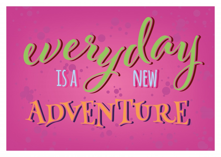 pink postcard with the slogan everday is a new adventure