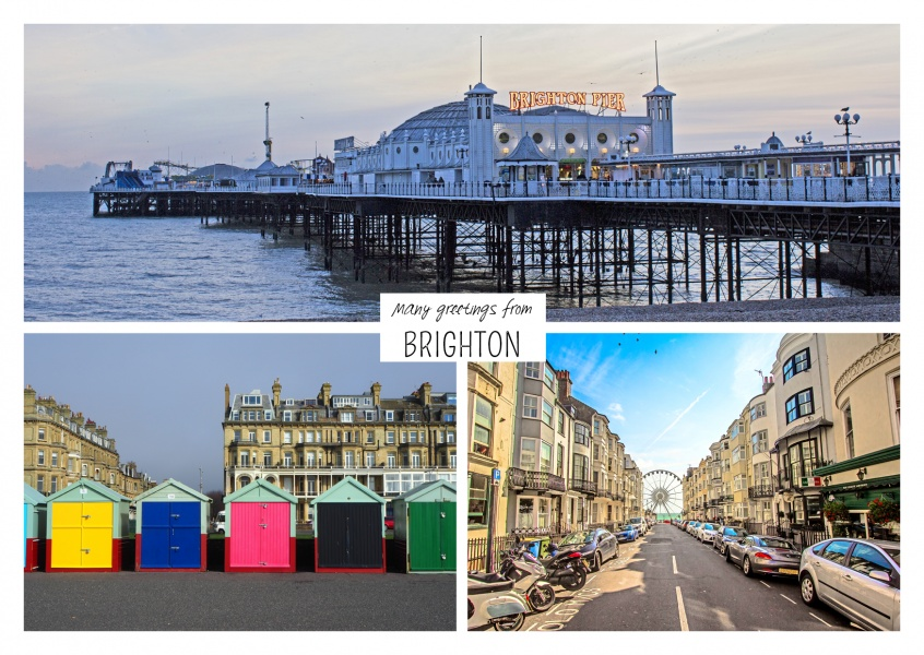 Dreier collage mit fotos aus brighton in england