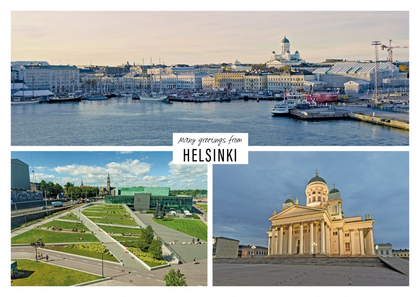 Dreier collage mit fotos aus Helsinki in Finnland