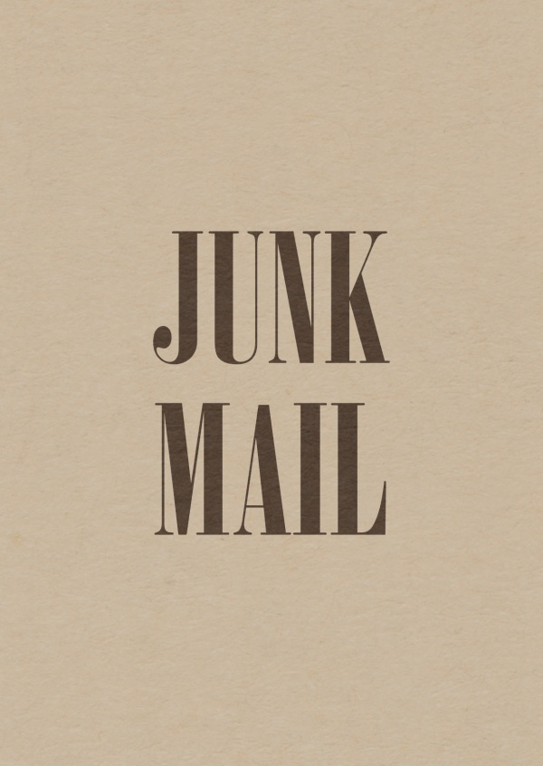 postkarte mit Junk Mail statement