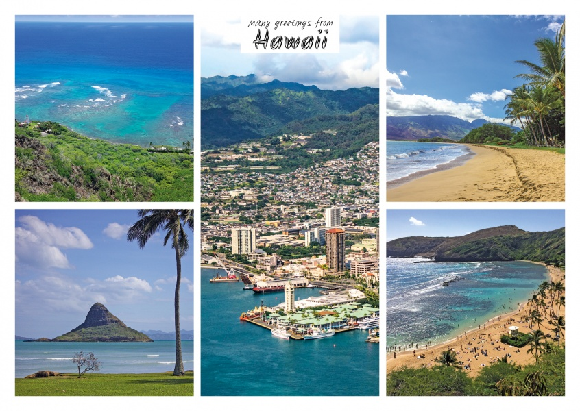 fünfer collage mit fotos aus Hawaii