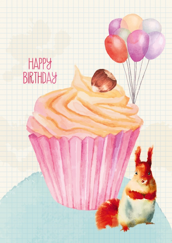Happy Birthday Illustration mit Muffin und Eichhörnchen–mypostcard