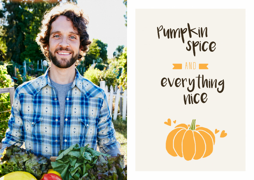 Pumpkin Spice & Everything Nice. Pumpkin and small hearts.
