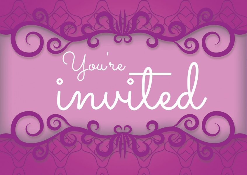 Purple Invitation card with ornaments