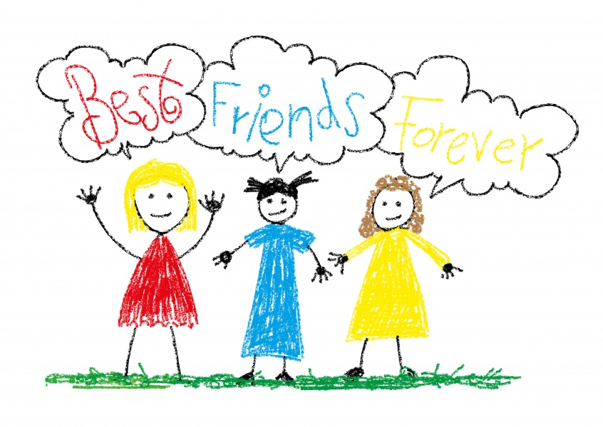 kids' drawing of 3 girls best friends forever