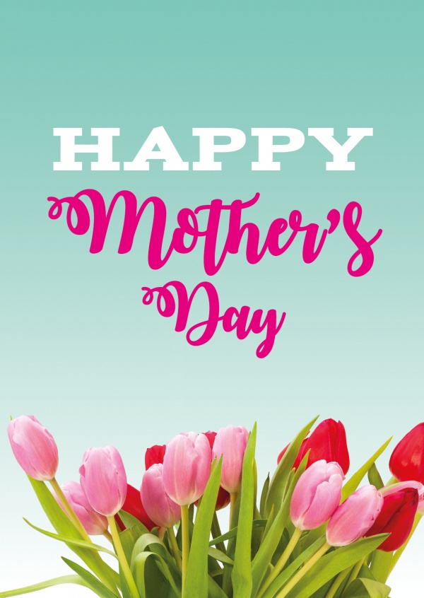 Happy mother's day graphic with pink flowers and turquoise background with with lettering–mypostcard