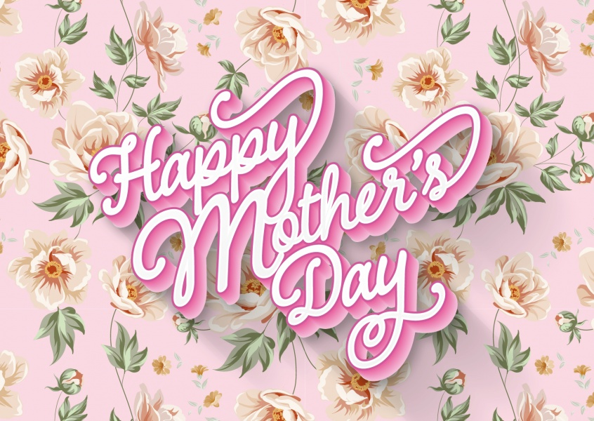 Happy Mother's Day with springtime pattern–mypostcard