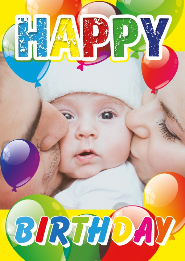 Happy Birthday big balloons in red, yellow, blue, purple and green on top of a photo template