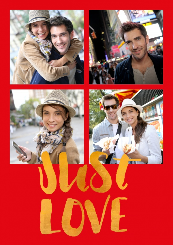 just love on golden lettering on red background colour